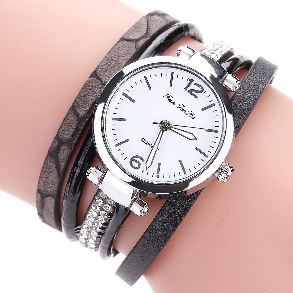 Fanteeda FD081 Women Leather Band Magnetic Buckle Bangle Watch - BLACK