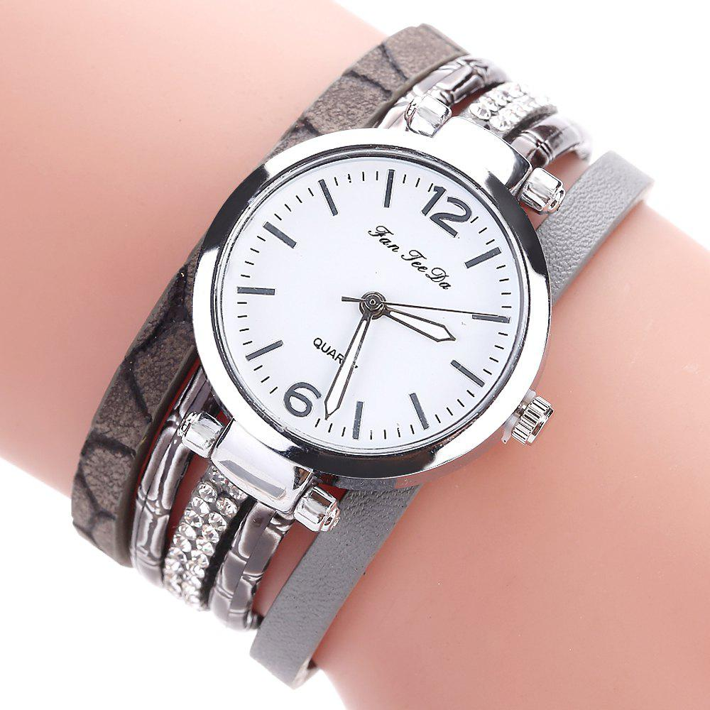 Fanteeda FD081 Women Leather Band Magnetic Buckle Bangle Watch - GREY