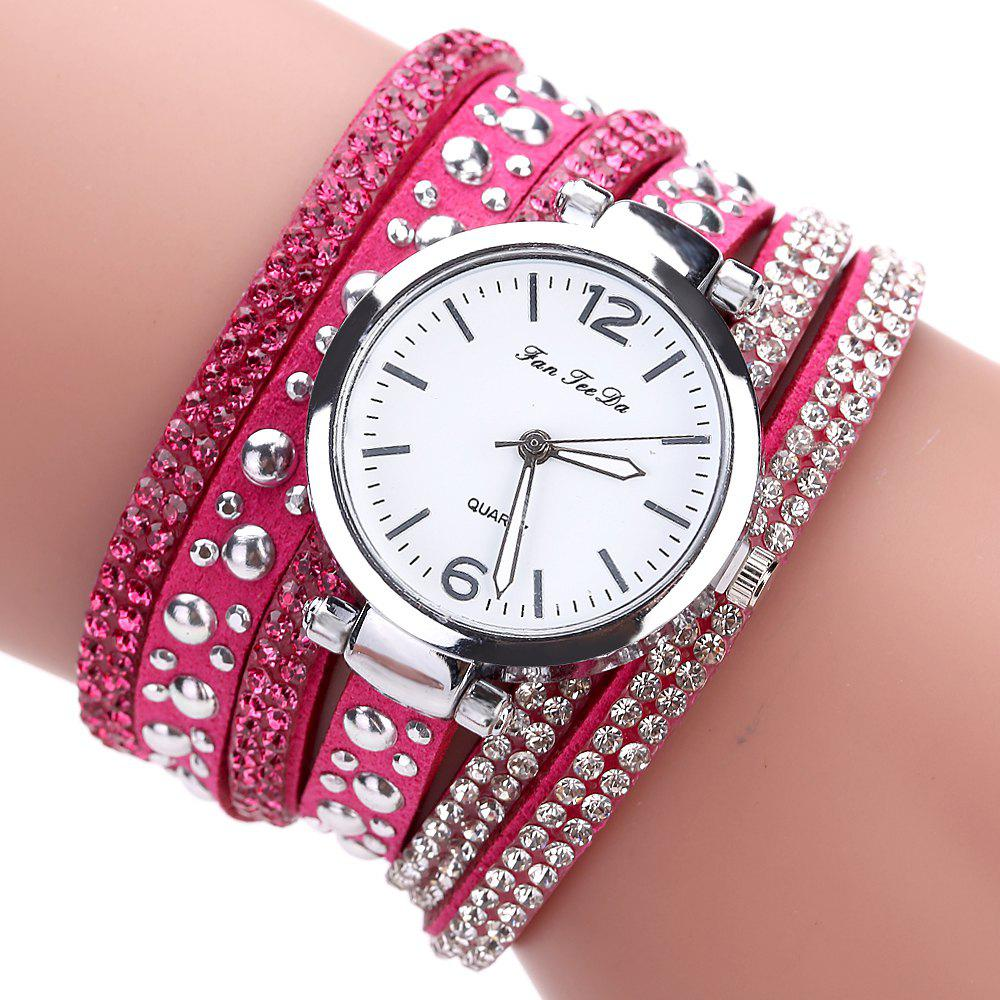 Fanteeda FD083 Women Fashion Wrapping wrist Watch - ROSE RED