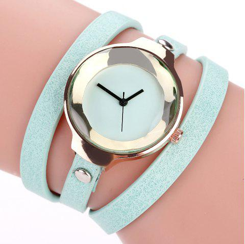 Fanteeda FD090 Women Leather Wrap Bracelet Wrist Watch - SKYBLUE