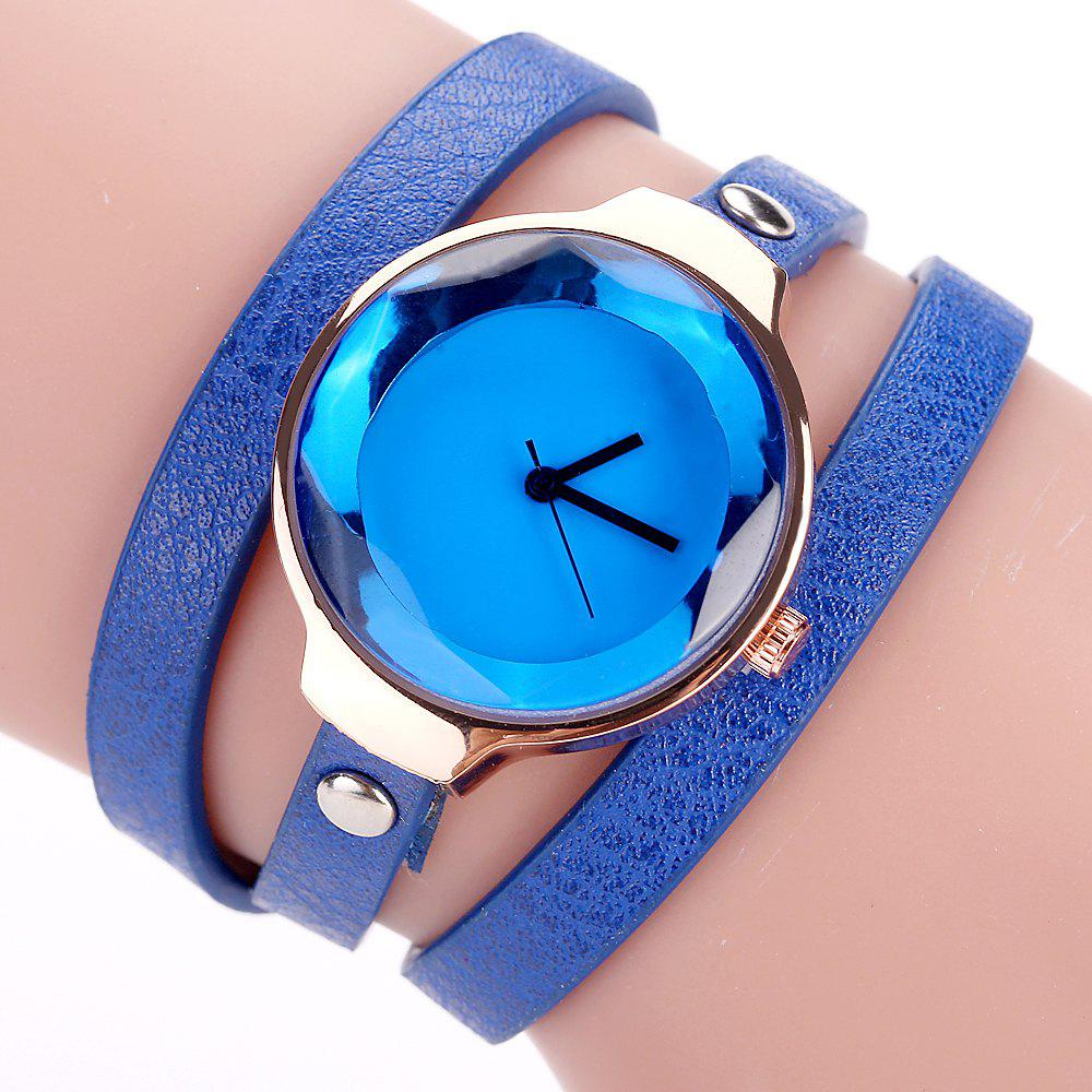 Fanteeda FD090 Women Leather Wrap Bracelet Wrist Watch - BLUE