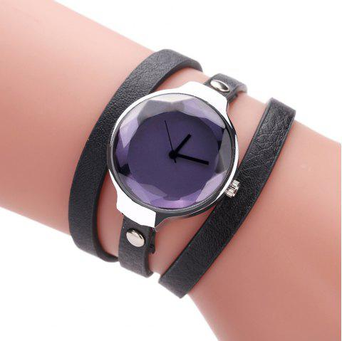 Fanteeda FD089 Women Simple Silver Tone Leather Wrap Watch - BLACK