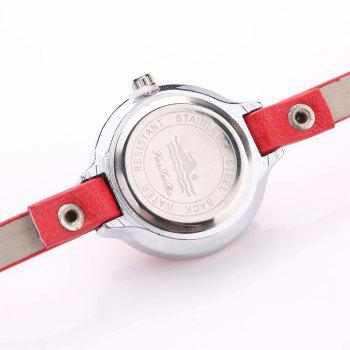 Fanteeda FD089 Women Simple Silver Tone Leather Wrap Watch - RED