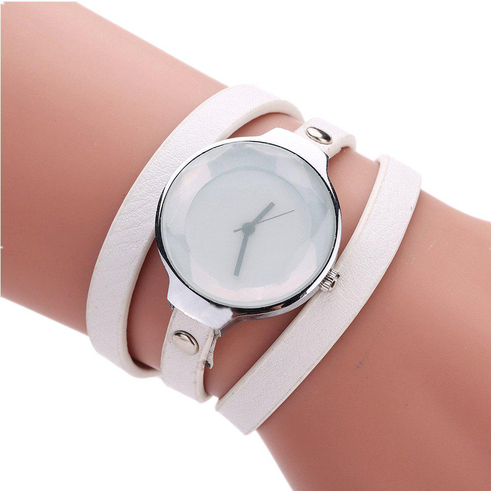 Fanteeda FD089 Women Simple Silver Tone Leather Wrap Watch - WHITE
