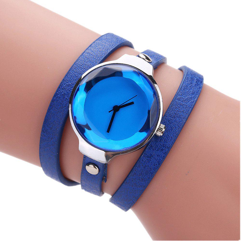 Fanteeda FD089 Women Simple Silver Tone Leather Wrap Watch - BLUE