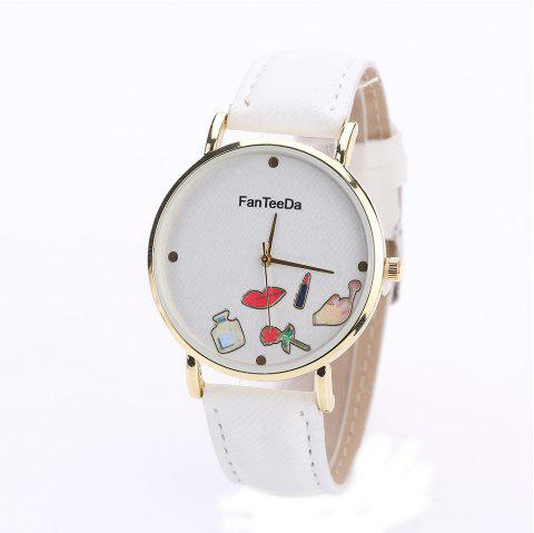 Fanteeda FD084 Women Fashion Round Case Quartz Watch - WHITE