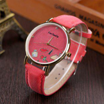 Fanteeda FD084 Women Fashion Round Case Quartz Watch - RED