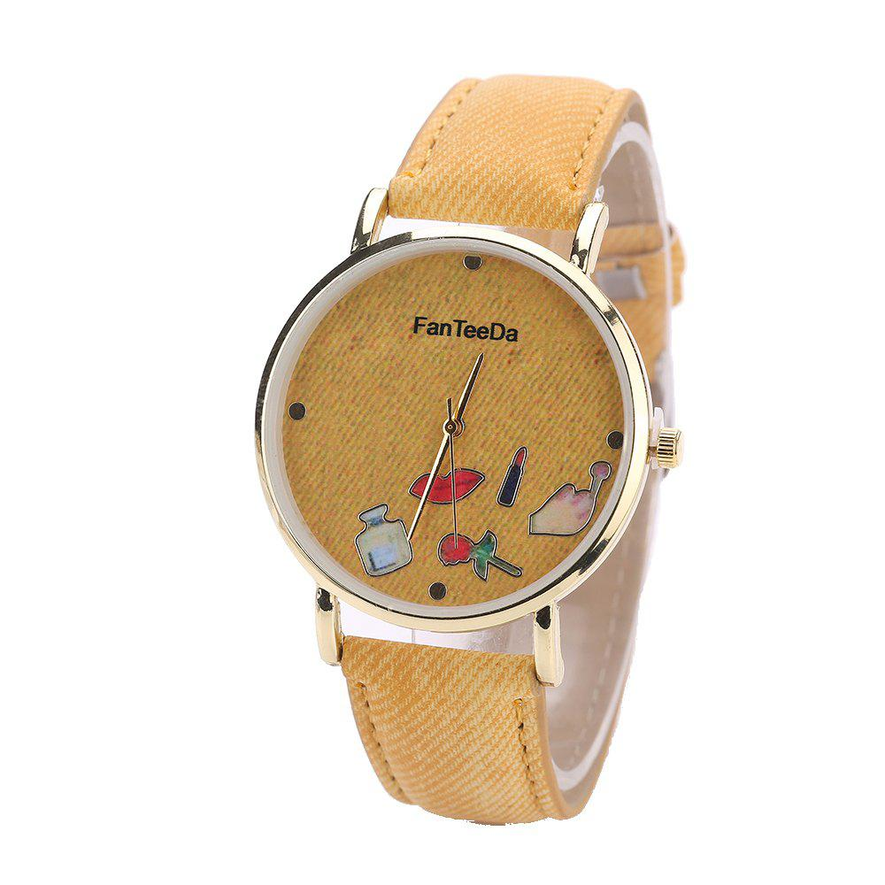 Fanteeda FD084 Women Fashion Round Case Quartz Watch - YELLOW