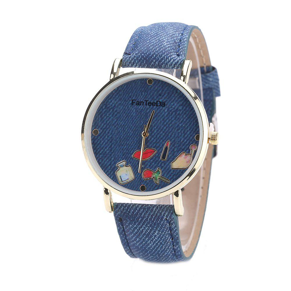 Fanteeda FD084 Women Fashion Round Case Quartz Watch - BLUE