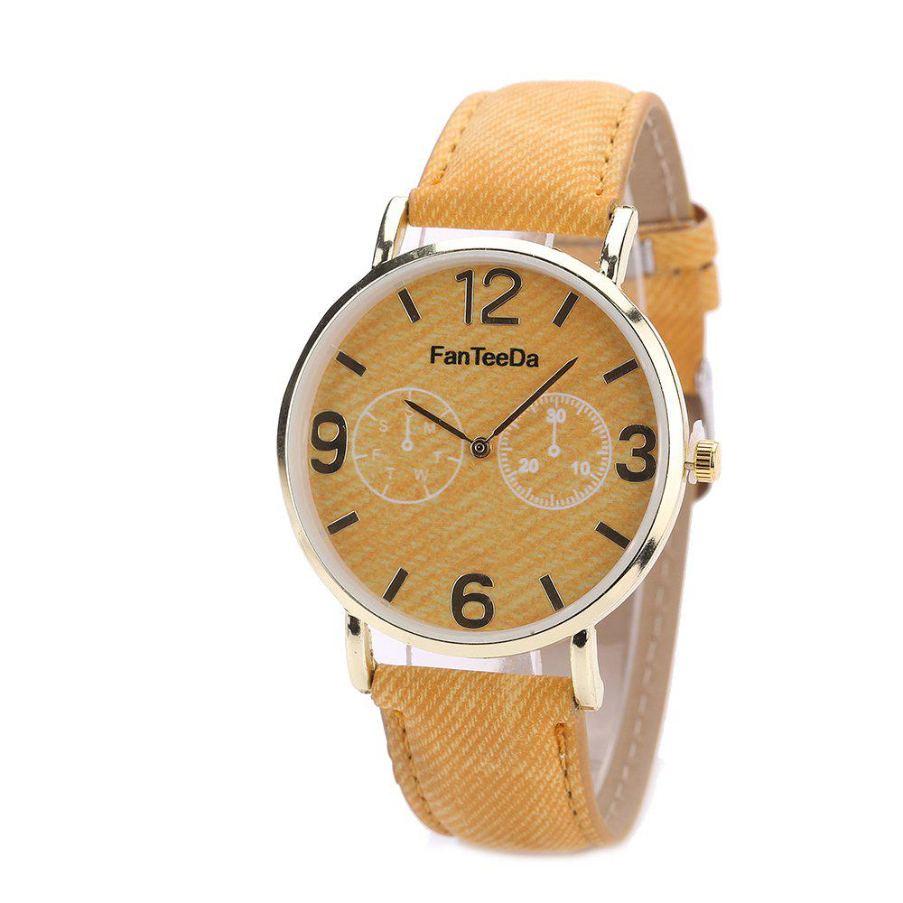 Fanteeda FD085 Women Fashion Round Case Quartz Watch - YELLOW