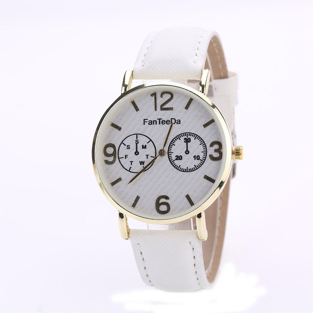 Fanteeda FD085 Women Fashion Round Case Quartz Watch - WHITE