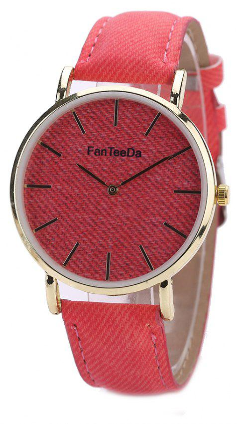 Fanteeda FD086 Women Fashion Round Case Quartz Watch - RED