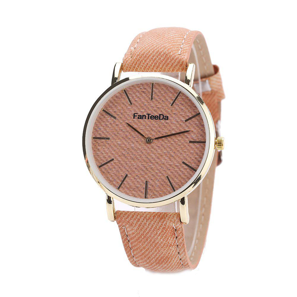 Fanteeda FD086 Women Fashion Round Case Quartz Watch - BROWN