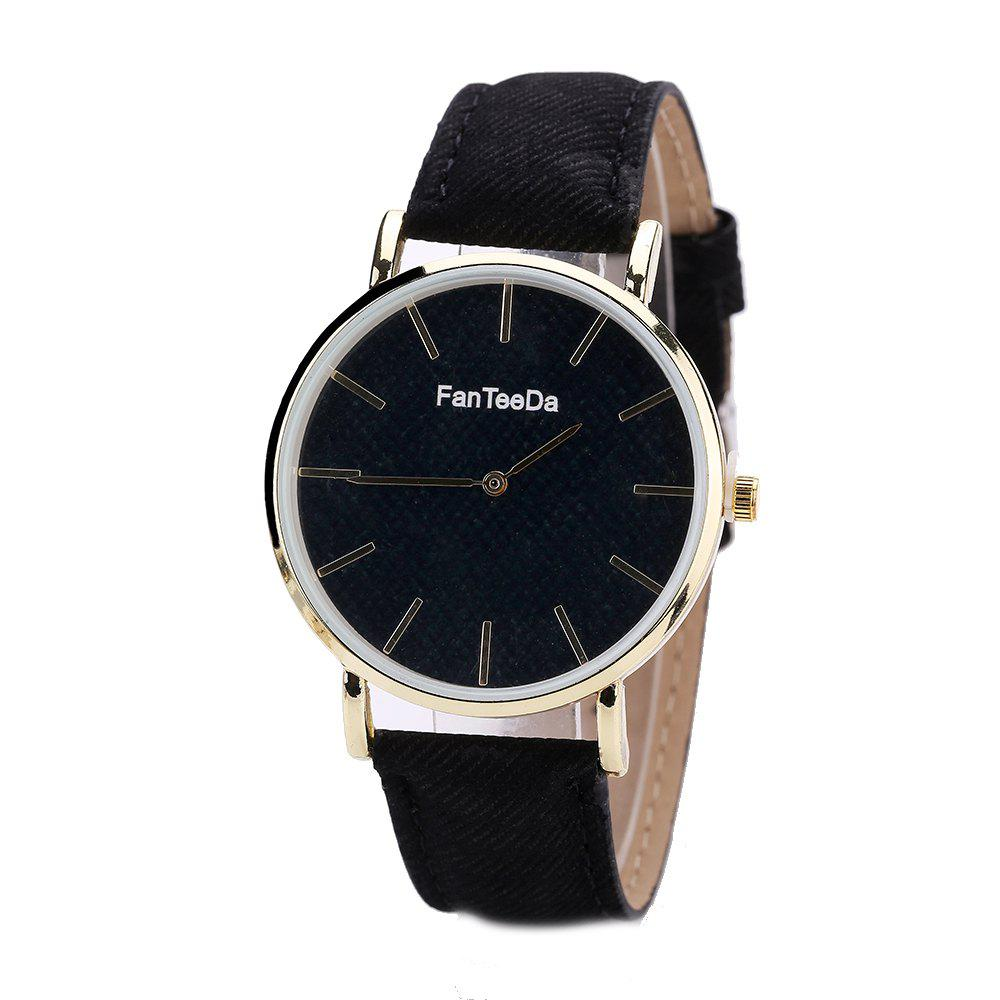 Fanteeda FD086 Women Fashion Round Case Quartz Watch - BLACK