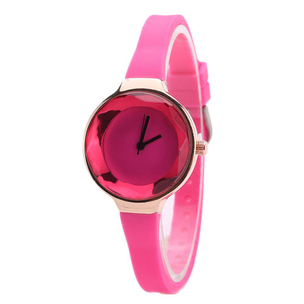 Fanteeda FD087 Women Simple Silicone Wrist Watch - ROSE RED