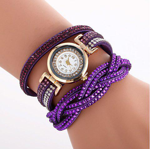 Reebonz Multilayer Woven Pure Diamond Winding Diamond Fashion Quartz Watches - PURPLE