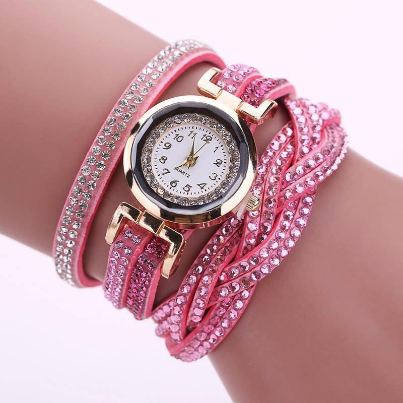 Reebonz Multilayer Woven Pure Diamond Winding Diamond Fashion Quartz Watches - PINK