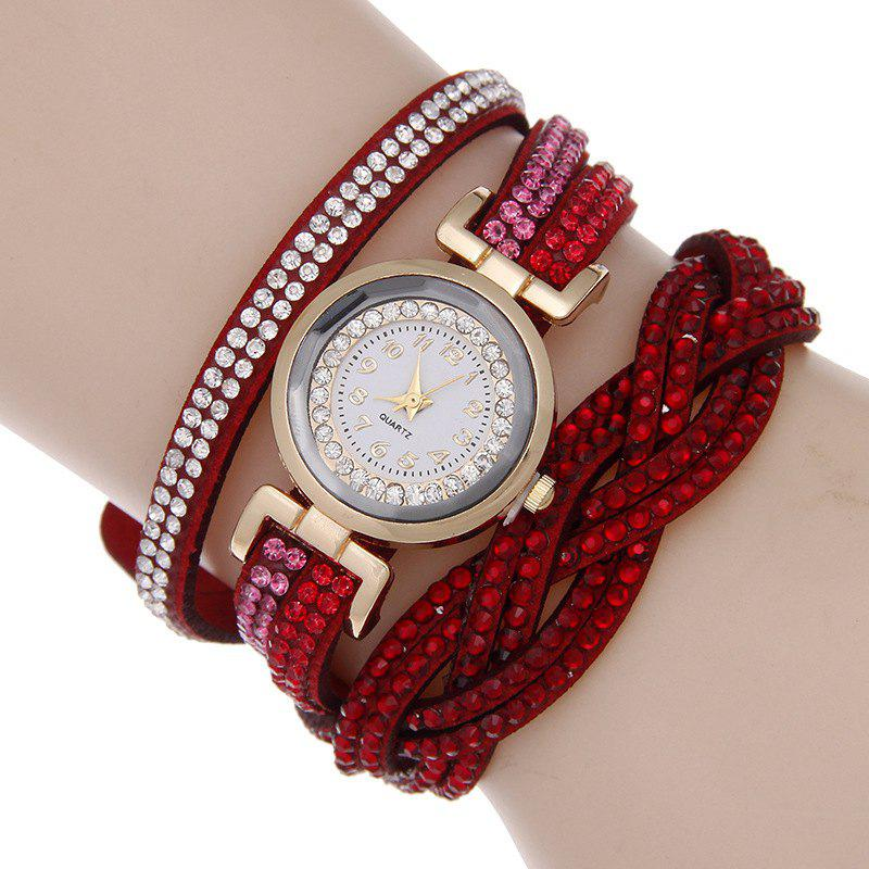 Reebonz Multilayer Woven Pure Diamond Winding Diamond Fashion Quartz Watches - RED