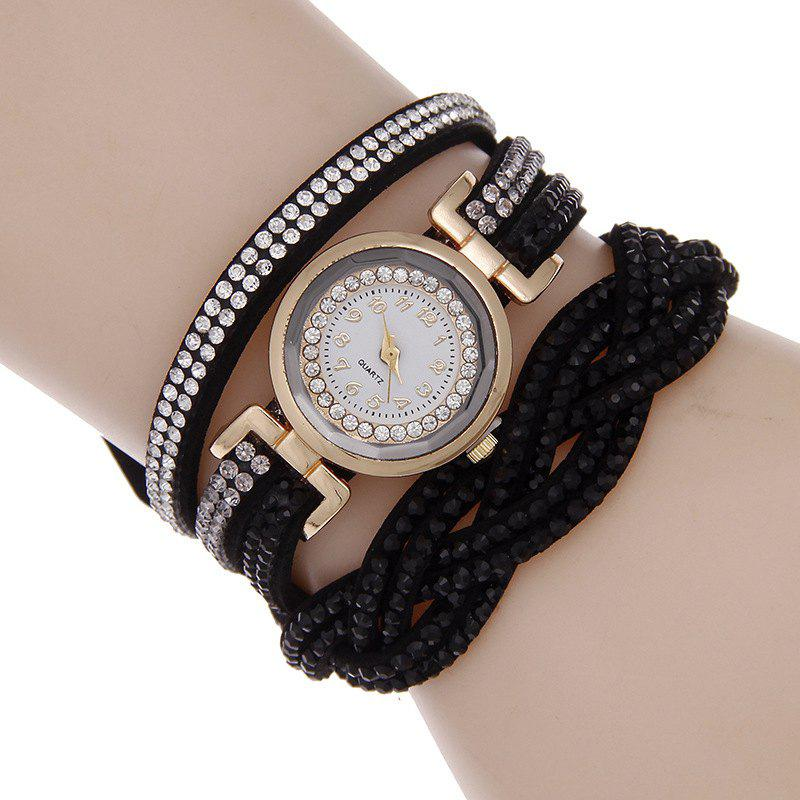 Reebonz Multilayer Woven Pure Diamond Winding Diamond Fashion Quartz Watches - BLACK