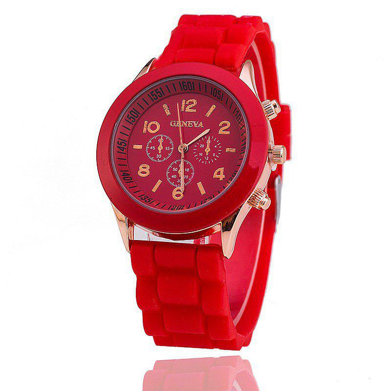 Geneva Female Fashion Quartz Watch - RED