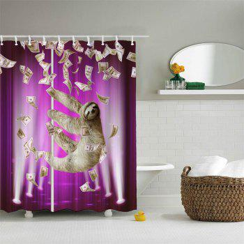 (Purple) Pipe Sloth Polyester Shower Curtain Bathroom  High Definition 3D Printing Water-Proof - PURPLE W71 INCH * L79 INCH
