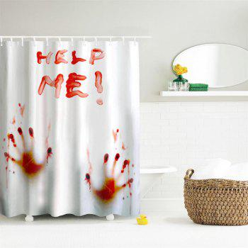 Blood Handprint Polyester Shower Curtain Bathroom  High Definition 3D Printing Water-Proof - COLORMIX W59 INCH * L71 INCH
