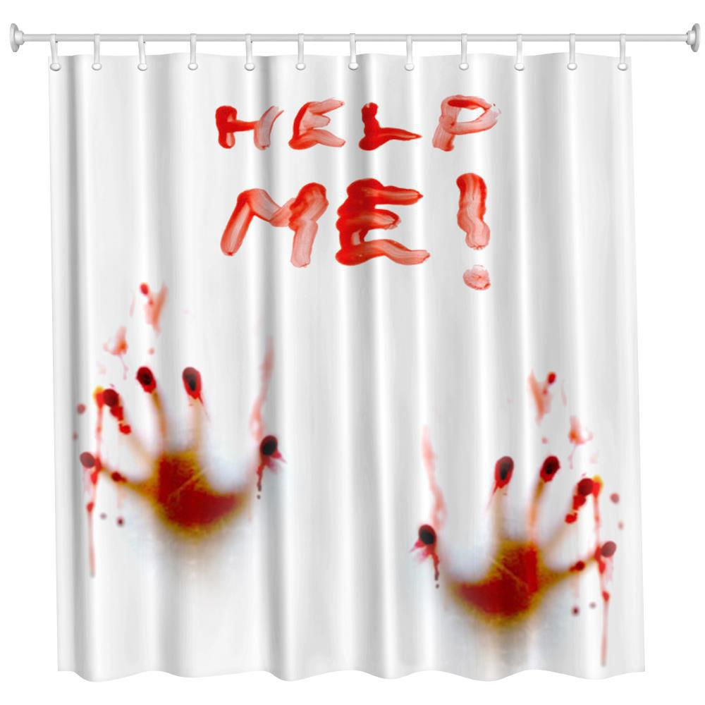 Blood Handprint Polyester Shower Curtain Bathroom  High Definition 3D Printing Water-Proof - COLORMIX W71 INCH * L71 INCH
