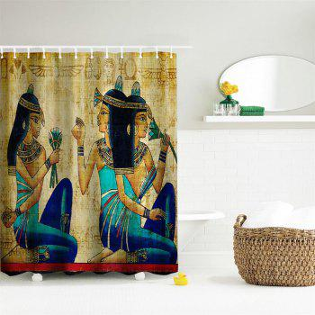 Ancient Egyptian Women Polyester Shower Curtain Bathroom  High Definition 3D Printing Water-Proof - COLORMIX W71 INCH * L79 INCH