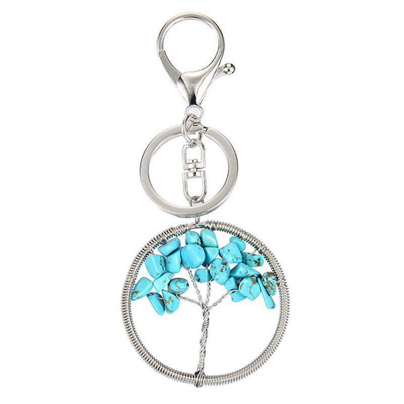 Fashion Jewelry Classic Style Characteristic Craft Wire Inlay Rhinestone Plant Tree Charm Key Chain for Women - BLUE