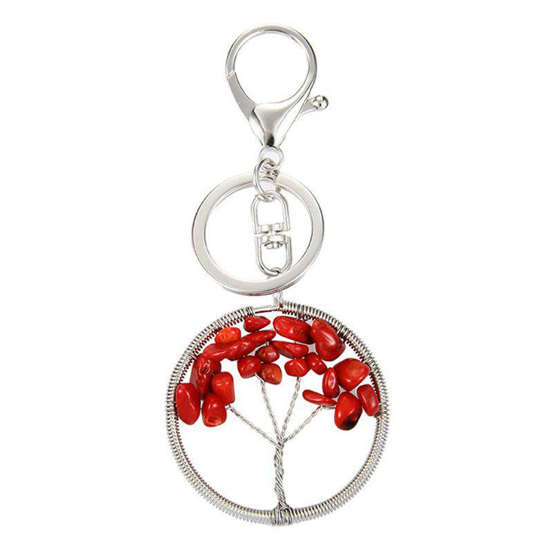 Fashion Jewelry Classic Style Characteristic Craft Wire Inlay Rhinestone Plant Tree Charm Key Chain for Women - RED