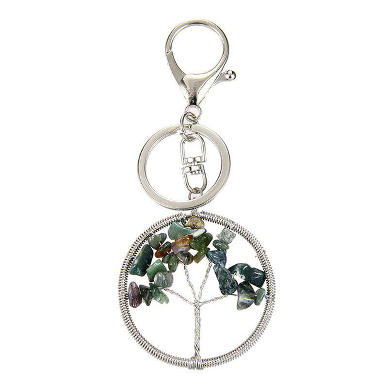 Fashion Jewelry Classic Style Characteristic Craft Wire Inlay Rhinestone Plant Tree Charm Key Chain for Women - DARK GREEN