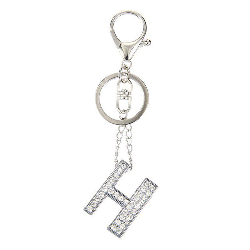 Fashion Jewelry Punk Rock Heavy Metal Style Crystal Portability Letter Charm Pendant Long Key Chain for Women - FROST SILVER,H