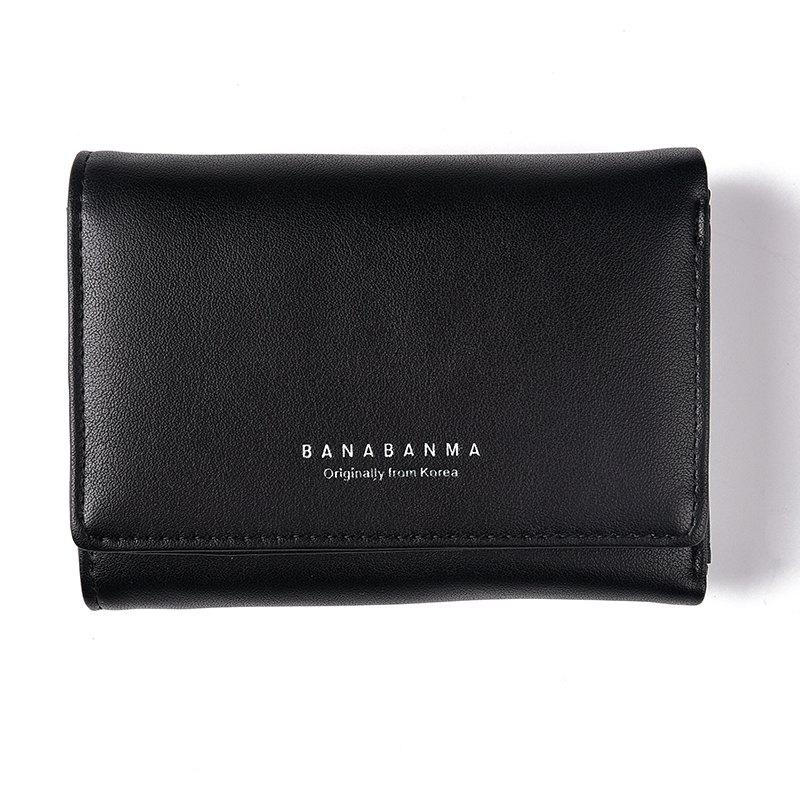 New Ladies Wallet Simple Purse Three Fold - BLACK