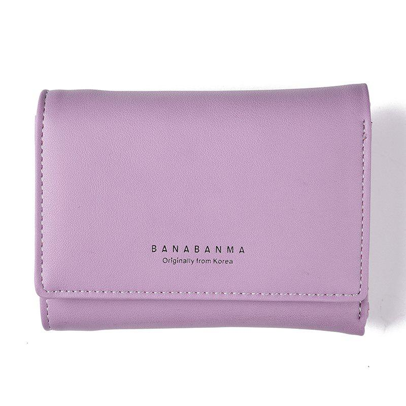 New Ladies Wallet Simple Purse Three Fold - PURPLE