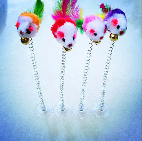 4pcs/set Rat Sucker Spring Mouse With Shape Cats Toys Funny Cat Stick Interactive - COLORFUL