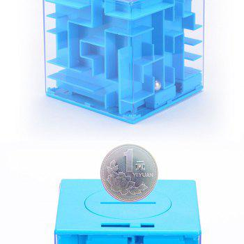 Creative 3D Three-dimensional Maze Piggy Bank Rotating Cube Puzzle Toy - BLUE