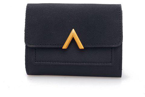 Female Short Compact Personality Wallet Students Simple Wallet - BLACK