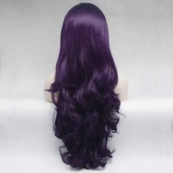 Long Purple Curly Wavy Style Heat Resistant Synthetic Hair Lace Front Wigs for Women - PURPLE 22INCH