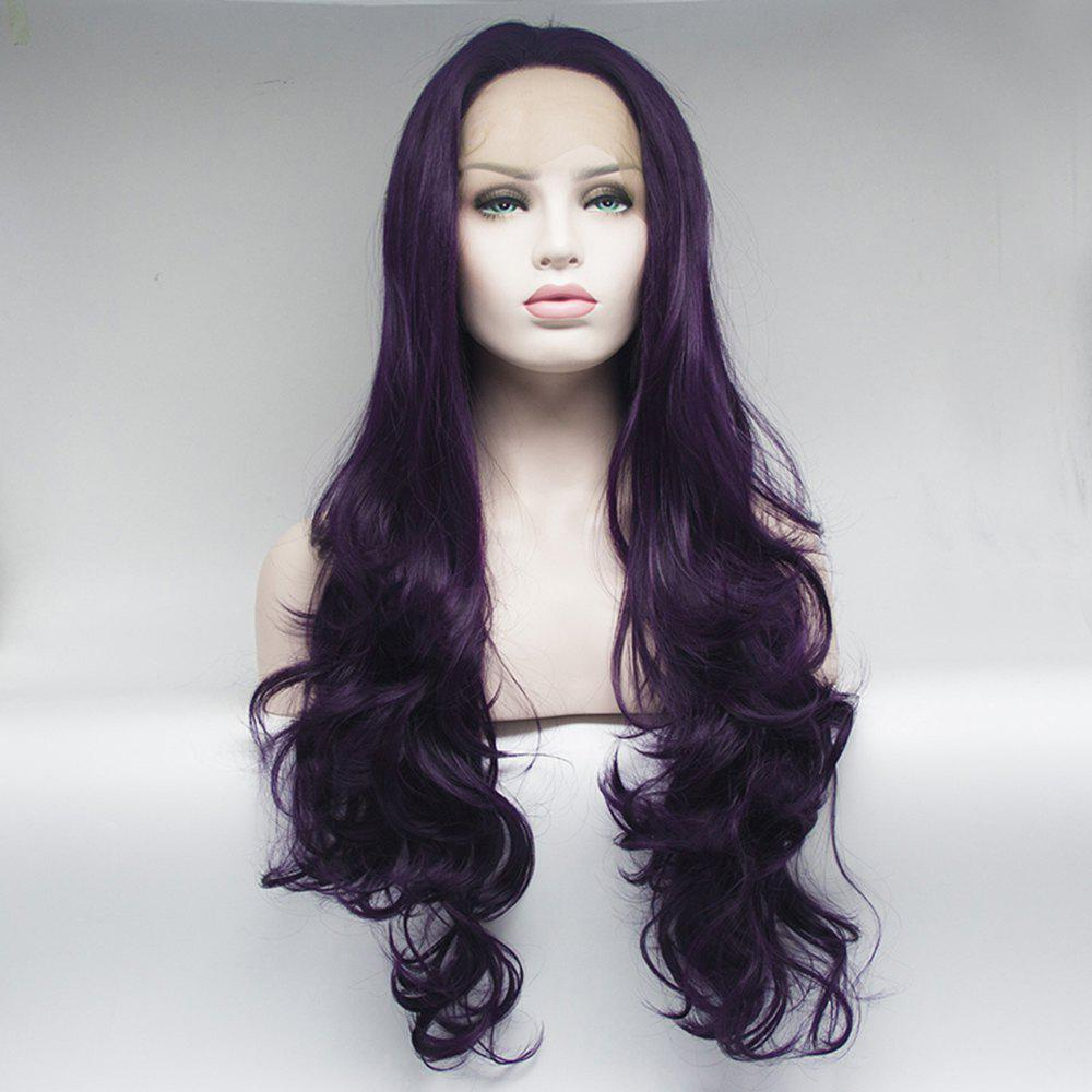 Long Purple Curly Wavy Style Heat Resistant Synthetic Hair Lace Front Wigs for Women - PURPLE 24INCH