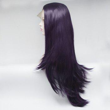 Natural Straight Style Color Purple Heat Resistant Synthetic Hair Lace Front Wigs for Women - PURPLE 24INCH