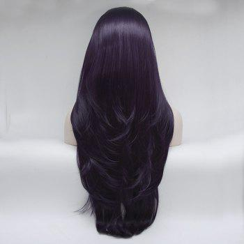 Natural Straight Style Color Purple Heat Resistant Synthetic Hair Lace Front Wigs for Women - PURPLE 14INCH