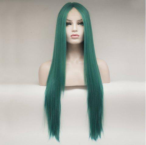 Color Green Long Straight Heat Resistant Synthetic Hair Lace Front Wigs for Women - GREEN 22INCH