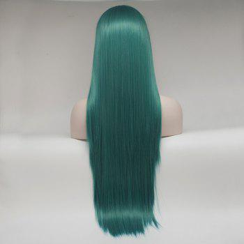 Color Green Long Straight Heat Resistant Synthetic Hair Lace Front Wigs for Women - GREEN 14INCH