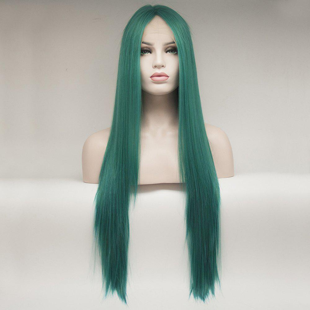 Color Green Long Straight Heat Resistant Synthetic Hair Lace Front Wigs for Women - GREEN 24INCH