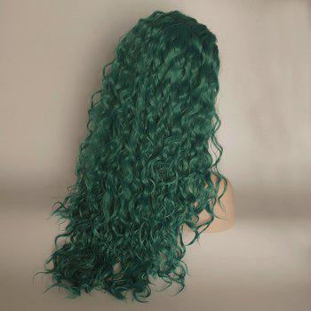 Green Color Long Curly Heat Resistant Synthetic Hair Lace Front Wigs for Women - GREEN 16INCH