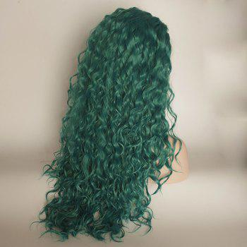 Long Curly Wavy Style Green Color Heat Resistant Synthetic Hair Lace Front Wigs for Women - GREEN 18INCH