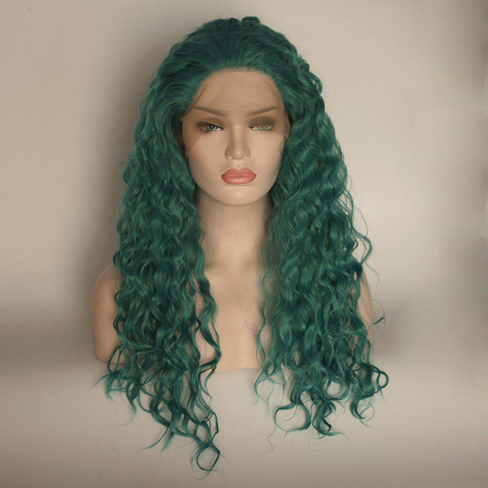 Long Curly Wavy Style Green Color Heat Resistant Synthetic Hair Lace Front Wigs for Women - GREEN 24INCH