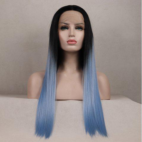 Color Light Blue Long Straight Ombre Black Root Heat Resistant Synthetic Hair Lace Front Wigs for Women - LIGHT BLUE 24INCH