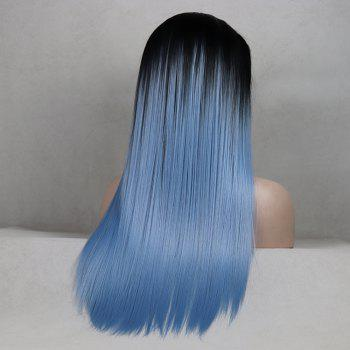 Color Light Blue Long Straight Ombre Black Root Heat Resistant Synthetic Hair Lace Front Wigs for Women - LIGHT BLUE 22INCH