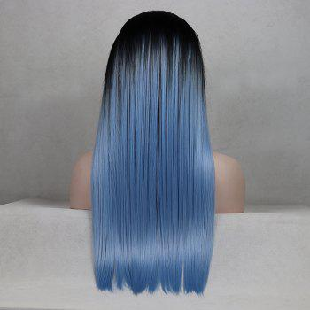 Color Light Blue Long Straight Ombre Black Root Heat Resistant Synthetic Hair Lace Front Wigs for Women - LIGHT BLUE 14INCH
